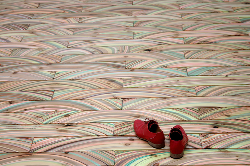 Arcademi_Pernille-Snedker-Hansen_Marbelous-Wood-Floor_red-shoes